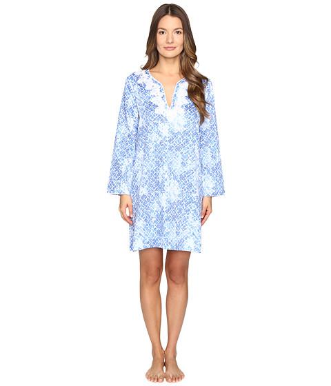 Imbracaminte Femei Oscar de la Renta Printed Cotton Sateen Sleepshirt Blue Moroccan Trellis
