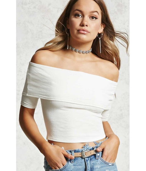 Imbracaminte Femei Forever21 Off-the-Shoulder Crop Top Ivory