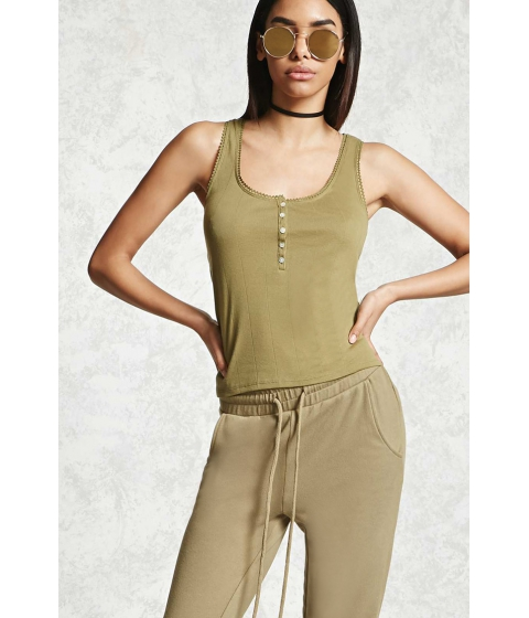 Imbracaminte Femei Forever21 Lace-Trim Henley Tank Top Light olive