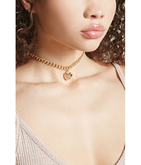 Bijuterii Femei Forever21 Heart Charm Chain Choker Gold
