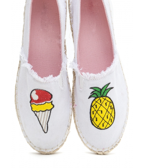 Incaltaminte Femei CheapChic Foodie Fun Embroidered Espadrille Flats White