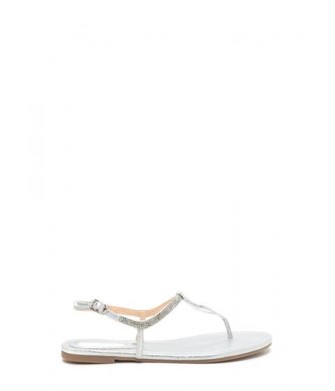 Incaltaminte Femei CheapChic Bling It On Metallic T-strap Sandals Silver