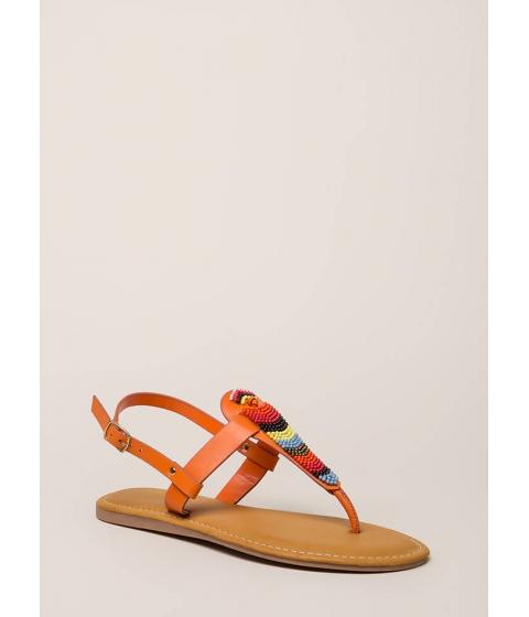 Incaltaminte Femei CheapChic Bead You On T-strap Faux Leather Sandals Orange