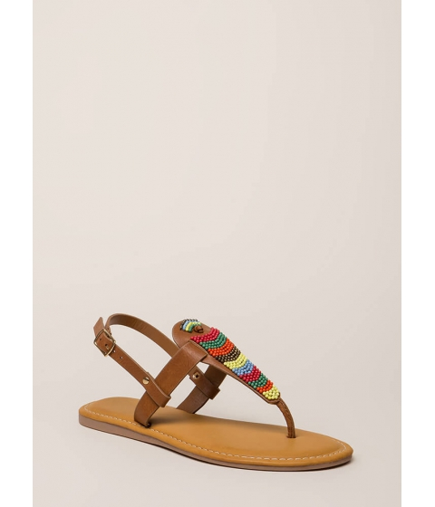 Incaltaminte Femei CheapChic Bead You On T-strap Faux Leather Sandals Tan