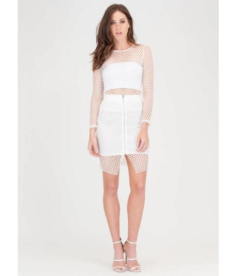 Imbracaminte Femei CheapChic The Hole Thing Mesh Top And Skirt Set White