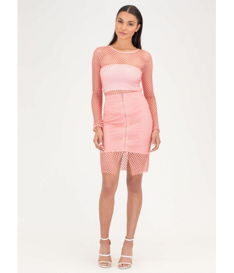 Imbracaminte Femei CheapChic The Hole Thing Mesh Top And Skirt Set Coral