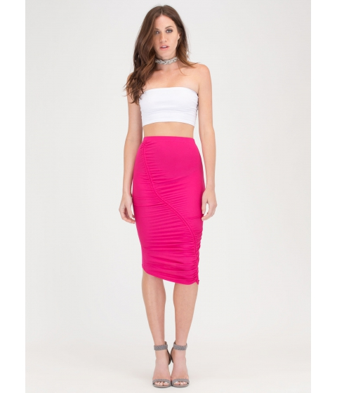 Imbracaminte Femei CheapChic Ruche Into Things Drawstring Skirt Fuchsia