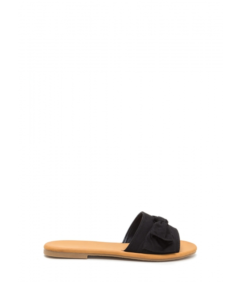 Incaltaminte Femei CheapChic Can You Knot Faux Suede Bow Sandals Black