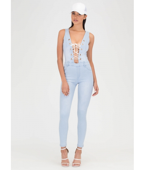 Imbracaminte Femei CheapChic Tied Or Die Lace-up Denim Jumpsuit Ltblue