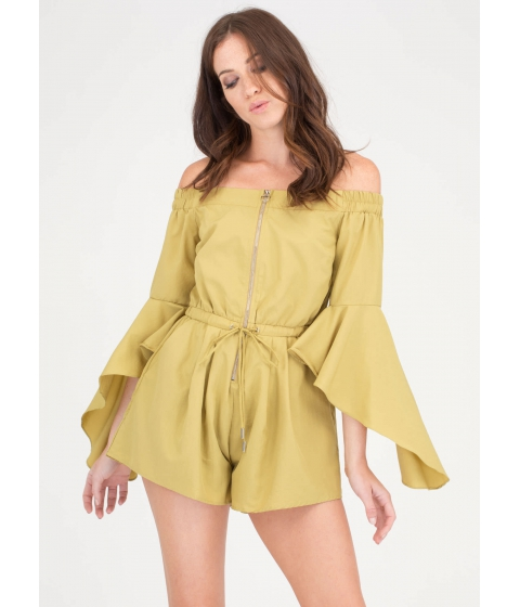 Imbracaminte Femei CheapChic Ring The Bell Sleeve Off-shoulder Romper Chartreuse
