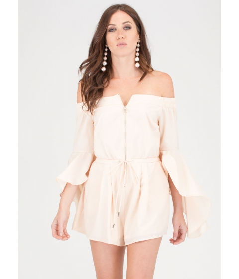 Imbracaminte Femei CheapChic Ring The Bell Sleeve Off-shoulder Romper Cream