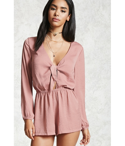 Imbracaminte Femei Forever21 Crinkled Satin Tie-Front Romper Dusty pink