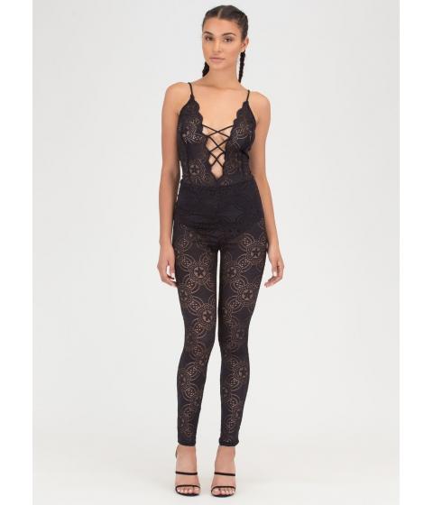 Imbracaminte Femei CheapChic Romantic Allure Tied Lace Jumpsuit Black