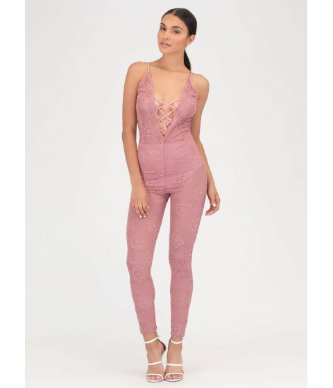 Imbracaminte Femei CheapChic Romantic Allure Tied Lace Jumpsuit Mauve