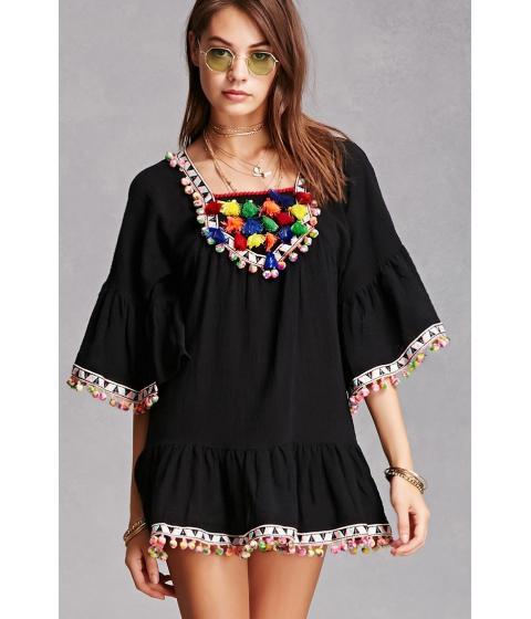 Imbracaminte Femei Forever21 Pom Pom Tassel Tunic Black