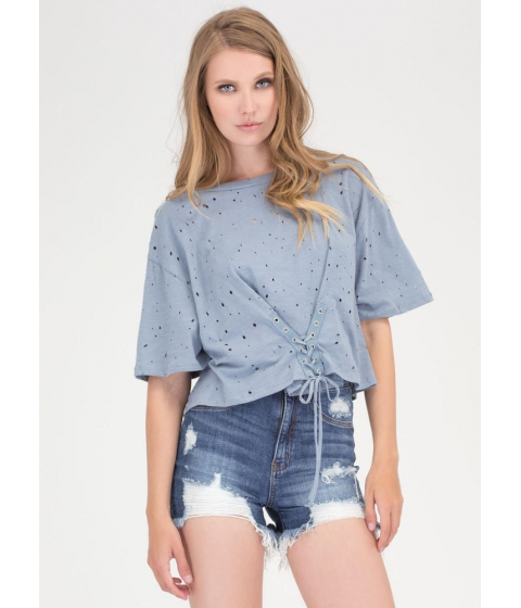 Imbracaminte Femei CheapChic Breezy Sunday Lace-up Crop Top Blue