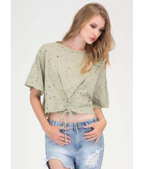 Imbracaminte Femei CheapChic Breezy Sunday Lace-up Crop Top Sage
