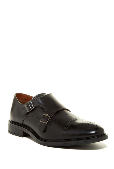Incaltaminte Barbati Joseph Abboud Bishop Cap Toe Double Monk Strap Shoe BLACK