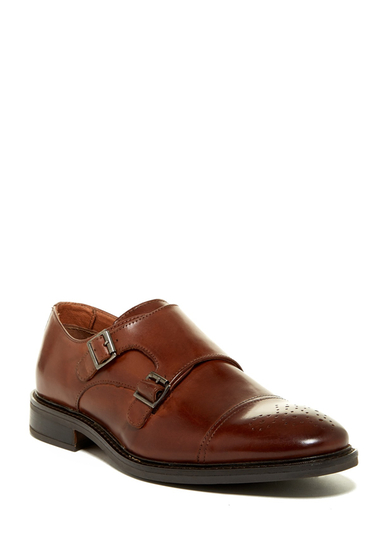Incaltaminte Barbati Joseph Abboud Bishop Cap Toe Double Monk Strap Shoe TAN