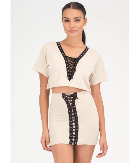 Imbracaminte Femei CheapChic All Laced Up Two-piece Minidress Khaki
