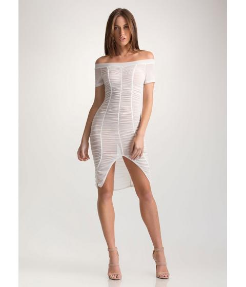 Imbracaminte Femei CheapChic Ruche Over Sheer Off-shoulder Dress White