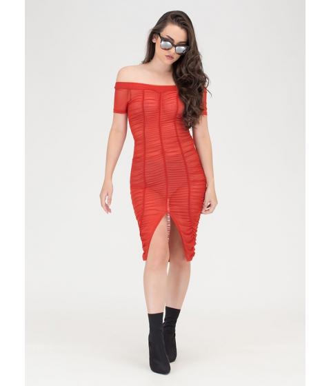 Imbracaminte Femei CheapChic Ruche Over Sheer Off-shoulder Dress Rust