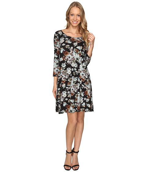 Imbracaminte Femei Karen Kane Blue Floral Maggie Trapeze Dress Floral Print