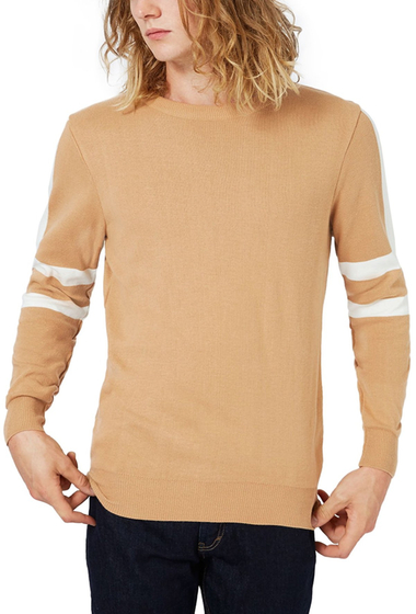 Imbracaminte Barbati TOPMAN Stripe Sleeve Crewneck Sweater LIGHT BROWN