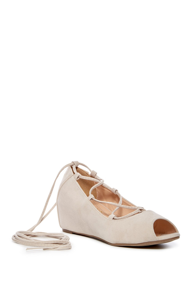 Incaltaminte Femei Chase Chloe Bobby Lace-Up Wedge NUDE