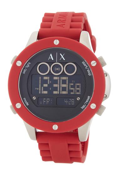 Ceasuri Barbati Armani Exchange Mens Digital Silicone Strap Watch NO COLOR