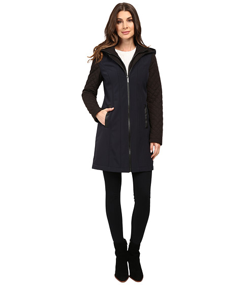 Imbracaminte Femei Michael Kors Zip Front Softshell with Hood and Quilted Sleeves M522320T New Navy