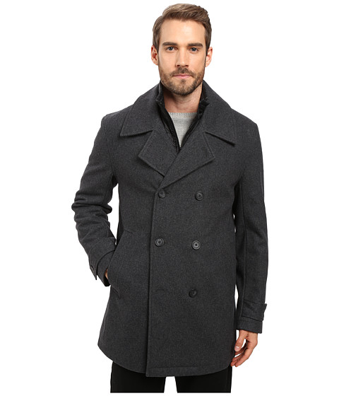 Imbracaminte Barbati Marc New York by Andrew Marc Cushing Pressed Wool Peacoat w Removable Quilted Bib Charcoal