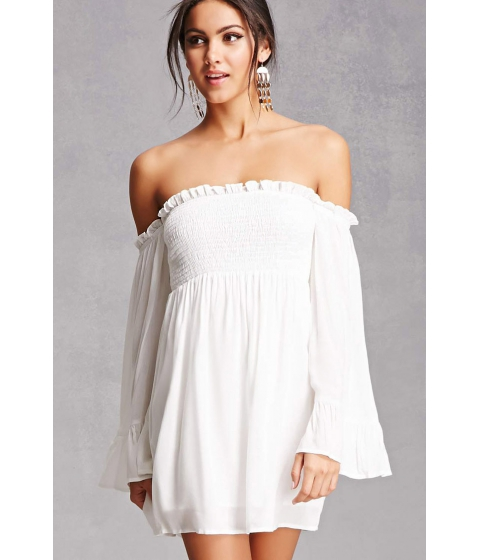 Imbracaminte Femei Forever21 Smocked Open-Shoulder Dress White