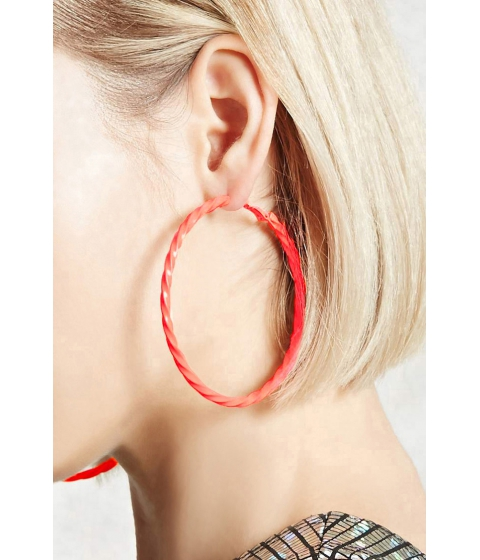 Bijuterii Femei Forever21 Twisted Neon Hoop Earrings Orange