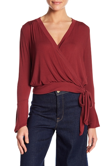 Imbracaminte Femei Lush Ballet Front Long Sleeve Blouse RUBY WINE