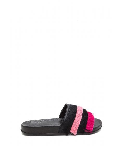 Incaltaminte Femei CheapChic Fringe Society Slide Sandals Black