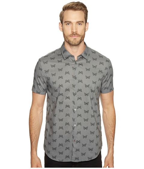Imbracaminte Barbati John Varvatos Mayfiled Slim Fit Sport Shirt with Cuffed Short Sleeves W443T1B Silver Grey