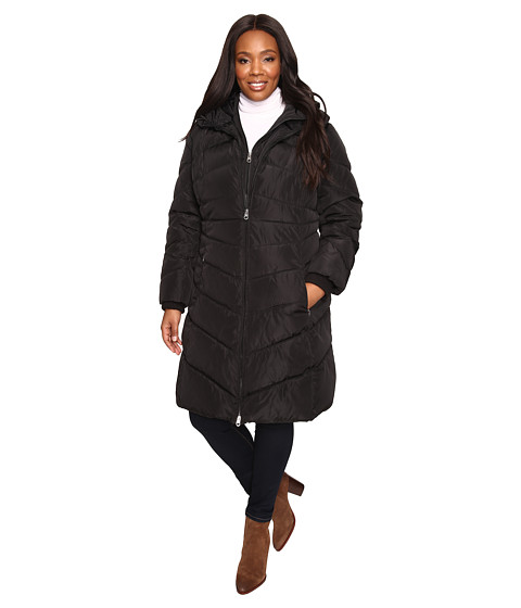 Imbracaminte Femei Jessica Simpson Plus Size Chevron Quilted Poly Down Coat with Hood Black