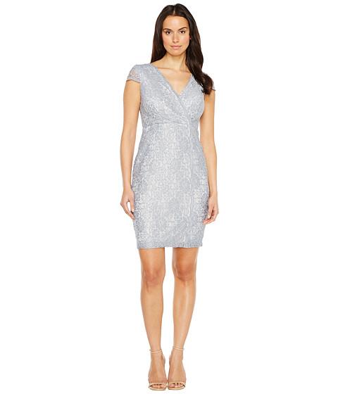 Imbracaminte Femei Sangria Short Sleeve V-Neck Metallic Lace Sheath Pewter