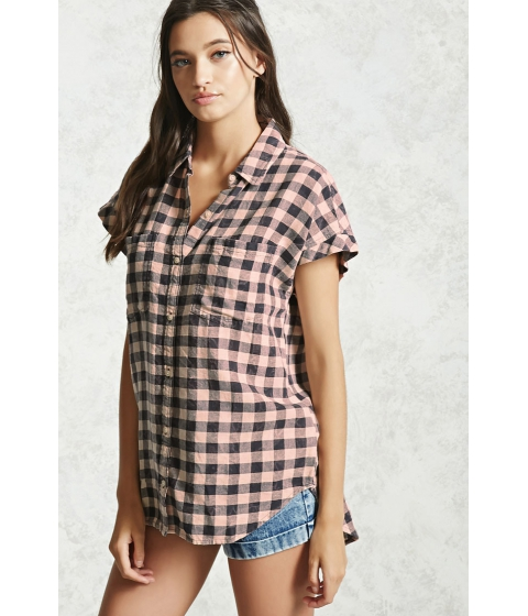 Imbracaminte Femei Forever21 Cotton Plaid Shirt Charcoalbaby pink