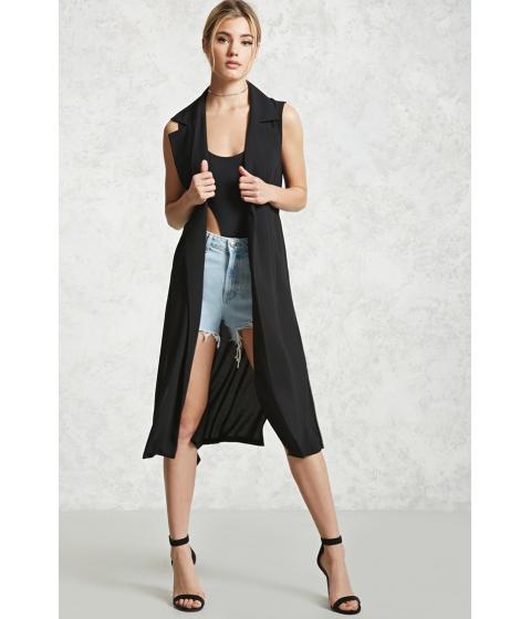 Imbracaminte Femei Forever21 Longline Side-Slit Vest Black