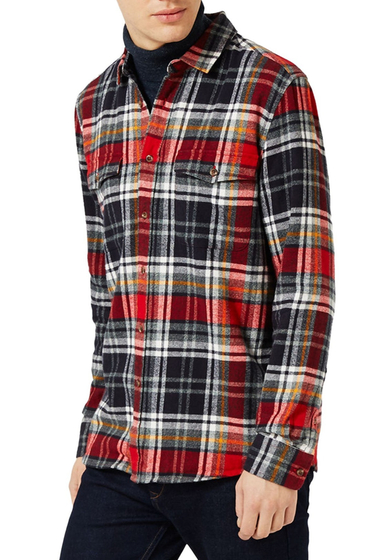 Imbracaminte Barbati TOPMAN Plaid Flannel Regular Fit Shirt RED
