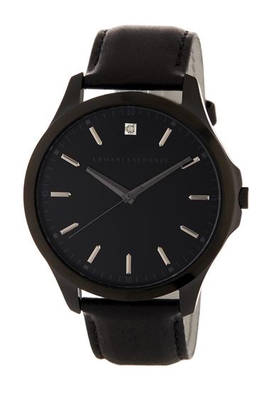 Ceasuri Barbati Armani Exchange Mens Hampton Leather Watch BLACK IP AND BLACK