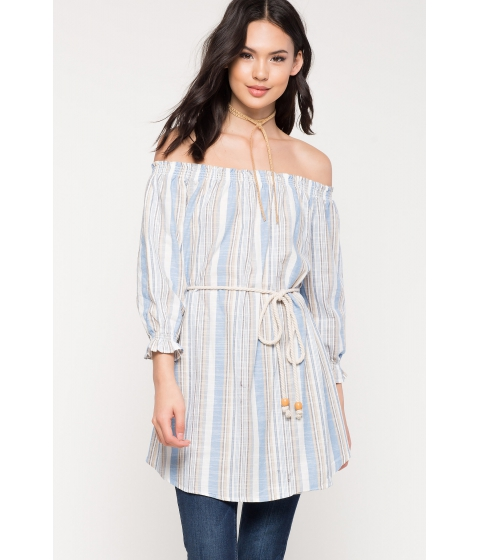 Imbracaminte Femei CheapChic Belted Off Shoulder Top Blue Ptrn