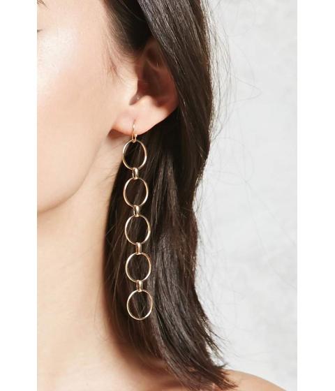 Bijuterii Femei Forever21 Linked Hoop Drop Earrings Gold