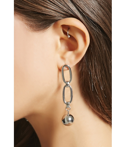 Bijuterii Femei Forever21 Chain-Link Bauble Earrings Silver