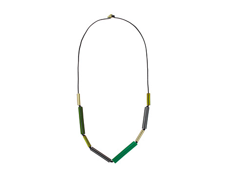 Bijuterii Femei French Connection Long Tube Mix Beads On Leather Cord Necklace GoldHematiteGreen Multi