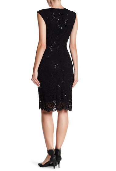 Imbracaminte Femei Marina Floral Lace Sheath Dress BLACK