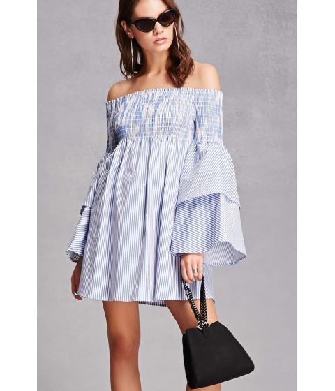 Imbracaminte Femei Forever21 Striped Bell Sleeve Dress Bluewhite