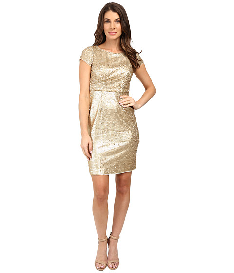 Imbracaminte Femei Adrianna Papell Short Sleeve Draped All Over Sequin Cocktail Dress Matte Gold